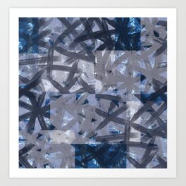 Indigo Shibori Multilayered Digital Painting Art Print