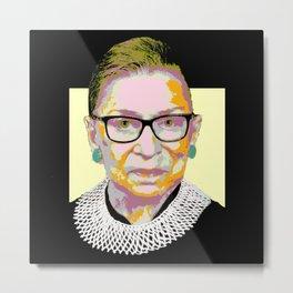 Yellow Ruth Bader Ginsburg Metal Print