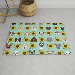 Dogs and cats pet friendly sunflowers animal lover gifts dog breeds cat person Rug