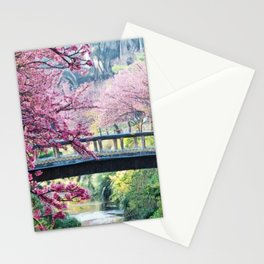Cherry Tree Blossoms of Spring Along the River Portrait Painting Stationery Cards