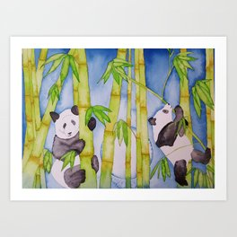 Playful Pandas by Moonlight Art Print