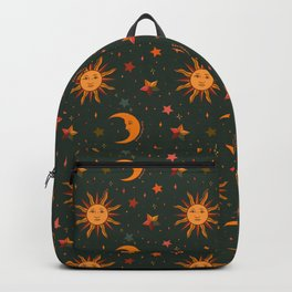 Folk Moon and Star Print in Teal Backpack