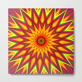 Fractal Sunflower Colorful Abstract Floral Art II Metal Print