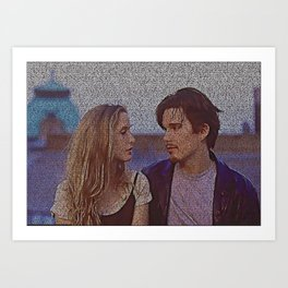 Text Portrait with Full Script of Before Sunrise Art Print