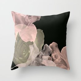 Blush Abstract Roses on Blackground Throw Pillow