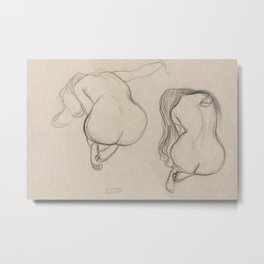 Gustav Klimt - Two Studies of a Seated Nude with Long Hair Metal Print