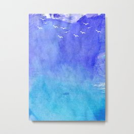 Blue Watercolor Beach Metal Print