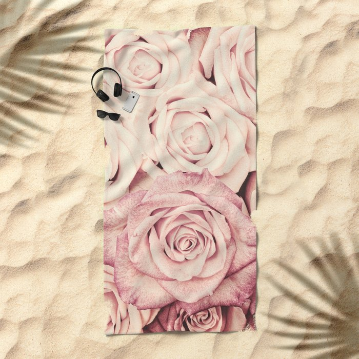 Some people grumble I Floral rose roses flowers pink Beach Towel