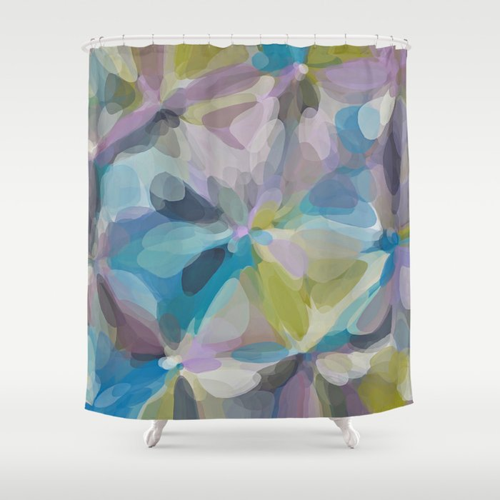 Circle Pattern Abstract Background In Blue Purple Yellow Shower Curtain