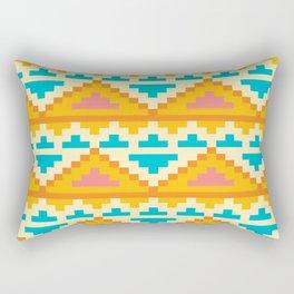 White And Yellow Stylish Native Aztec Rectangular Pillow