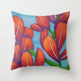 Botanical Painting with Reds and Blues Throw Pillow