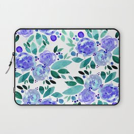 Abstract watercolor roses - blue and green Laptop Sleeve