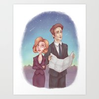 scully Art Prints featuring Mulder & Scully by Kaz Palladino