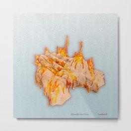 Hands on Fire Metal Print