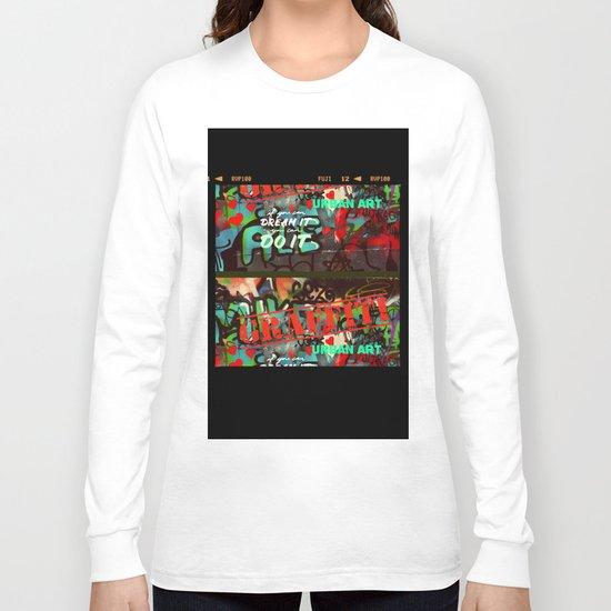 Blue teal crimson red fancy graffiti typography print Long Sleeve T-shirt