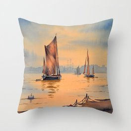 Barges On The River Thames Greenwich London Throw Pillow