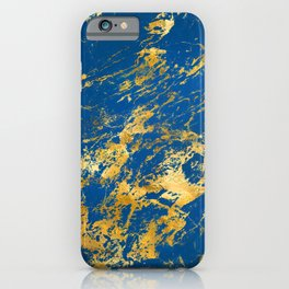 Royal Blue Faux Marble With '24-Karat' Gold Veins iPhone Case
