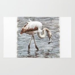 Knee Deep Flamingo Watercolor Rug