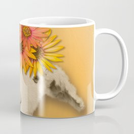 Daisies Sheep Girl Portrait, Mustard Yellow Texturized Background Coffee Mug