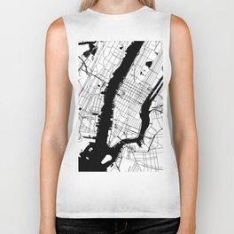 New York City White on Black Biker Tank