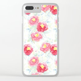 Abstract Watercolour Painted Pink Peonies Clear iPhone Case