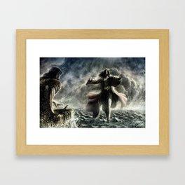 Walking over the water Framed Art Print