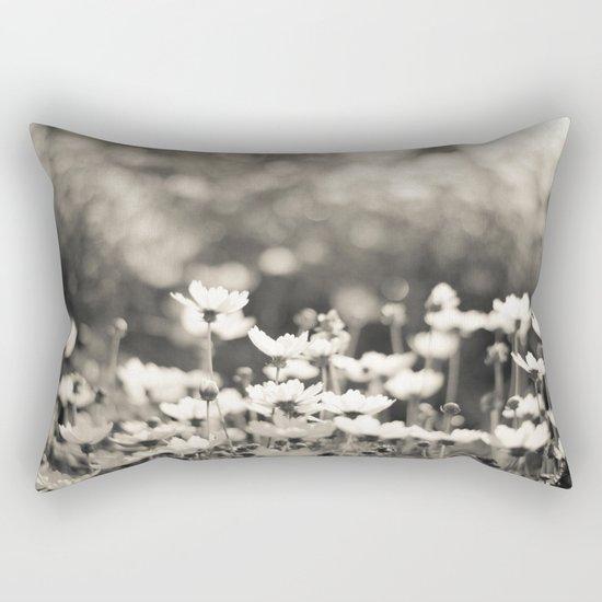 Black and White Daisy Rectangular Pillow