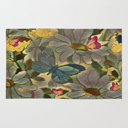 Painterly Flowers and Butterflies Rug