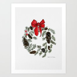 Christmas Wreath Illustration - Red Bow - Pinecones Art Print