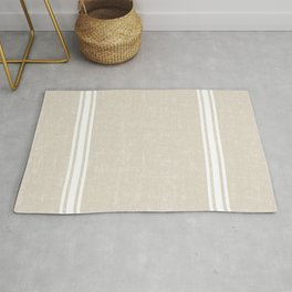 Vintage Country French Grainsack White Stripes Against Bone Color Background Rug