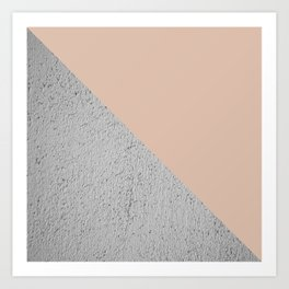 Geometrical Color Block Diagonal Cement vs nude Art Print
