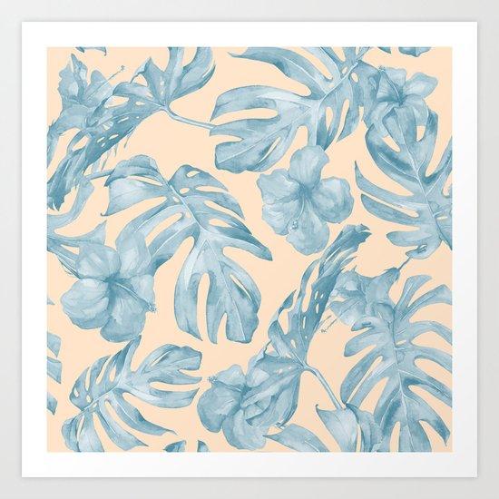 Tropical Leaves Sky Blue on Mango Coral Art Print