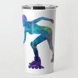 Woman in roller skates 10 in watercolor Travel Mug