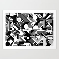 GEOMETRY SHAPES PATTERN PRINT (BLACK AND WHITE COLOR SCHEME) Art Print