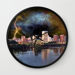 Stormy Richmond Skyline Wall Clock
