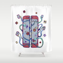 Handsy Smart Phone by Maisie Cross Shower Curtain