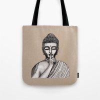 buddha Tote Bags featuring BUDDHA by Vanya