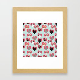Cat hearts valentines day cat lady gifts for cat lovers cat breeds pet portraits Framed Art Print