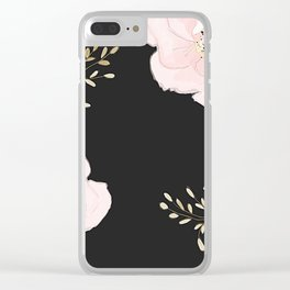 Pink flower Black background Clear iPhone Case