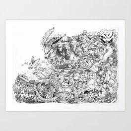 Naruto characters doodle Art Print