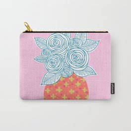 Flower Vase on Pink Carry-All Pouch