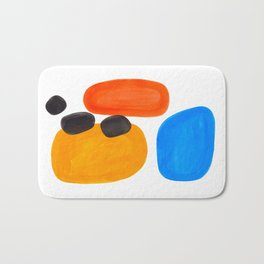 Abstract Mid Century Modern Colorful Minimal Pop Art Yellow Orange Blue Bubbles Ovals Bath Mat