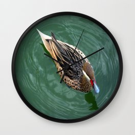 Duck Circles   Duck in Green Water With Oval Ripples Wall Clock