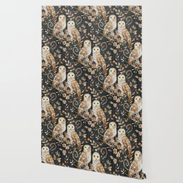 Wooden Wonderland Barn Owl Collage Wallpaper