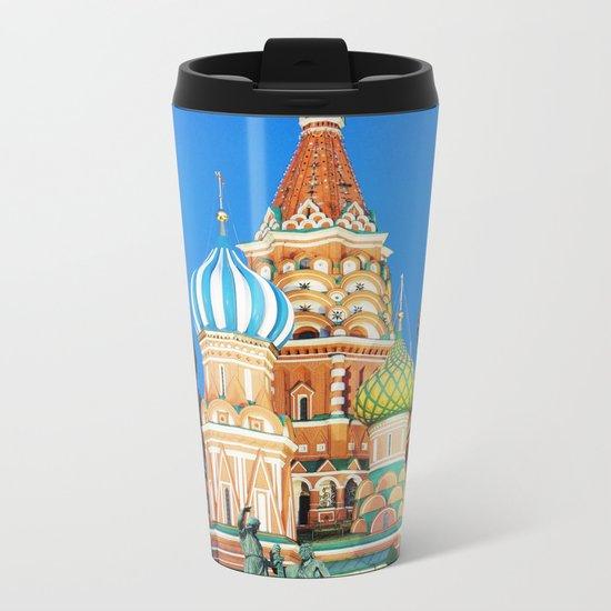 Colorful Moscow church Metal Travel Mug