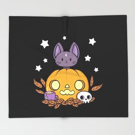 Pumpkin Cats Son // Black Throw Blanket