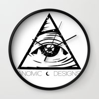 all seeing eye Wall Clocks featuring ALL SEEING EYE  by ANOMIC DESIGNS