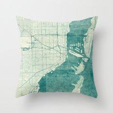 Miami Map Blue Vintage Throw Pillow
