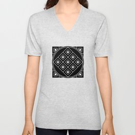 Geometric Pattern In Black And White, Urban Tribal. Unisex V-Neck