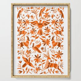 Mexican Otomí Design in Orange Color Serving Tray